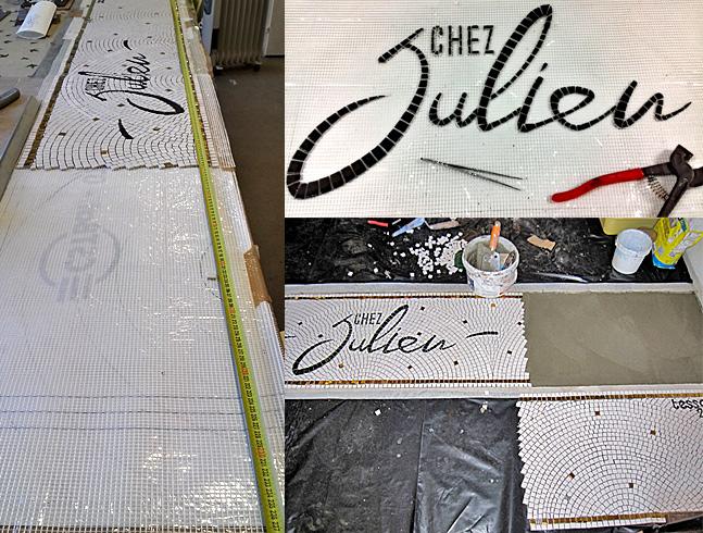 Creation d'un sol en mosaïque pour le restaurant Chez Julien - Bordeaux