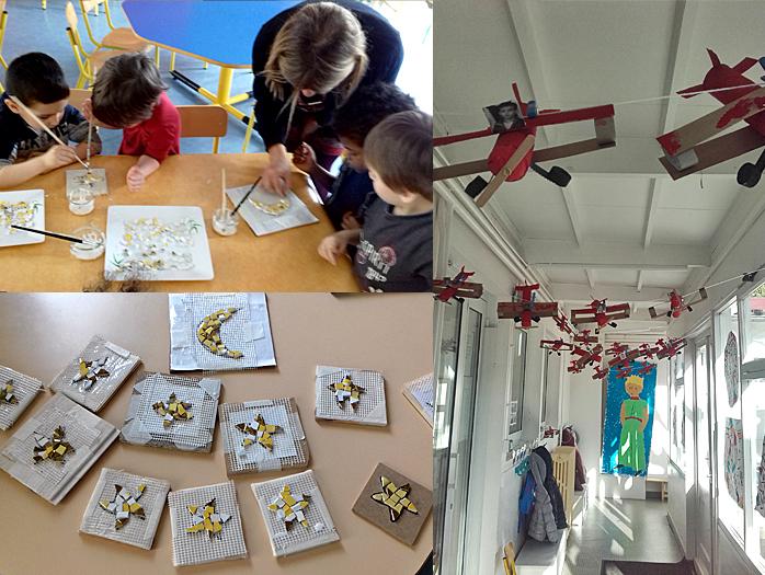 Mosaïque du Petit Prince, Antoine de Saint-Exupéry - Ecole maternelle à Libourne. Magali Magère, mosaïste d'art à Bordeaux et en Gironde