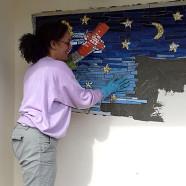 Mosaïque murale Le Petit Prince, école maternelle Antoine de Saint-Exupéry (pose), Libourne – 120x150cm