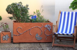 Bac de terrasse, décors mosaïque artisanale éco-conçue «Feuillage Ginko», sur commande – 100 x 50 cm
