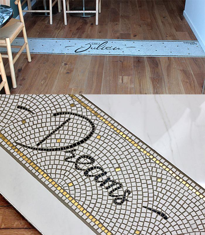 Mosaïque de sol pour le restaurant Chez Juien à Bordeaux - Mosaïque salle de bain Bordeaux